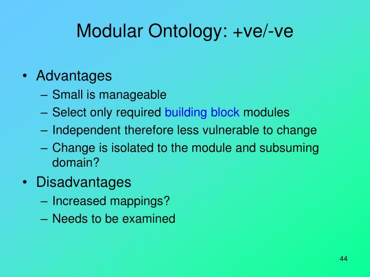 Modular Ontology: +ve/-ve