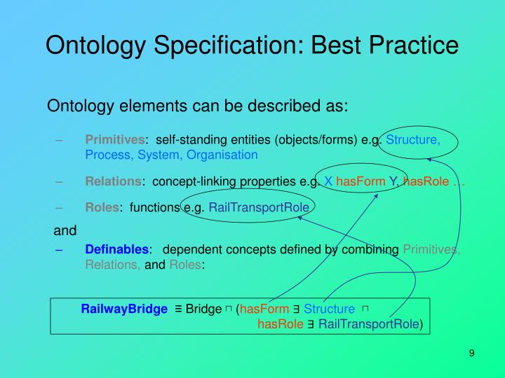 Ontology Specification: Best Practice