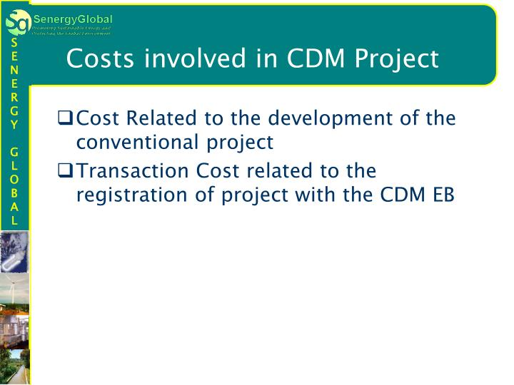 Costs involved in CDM Project