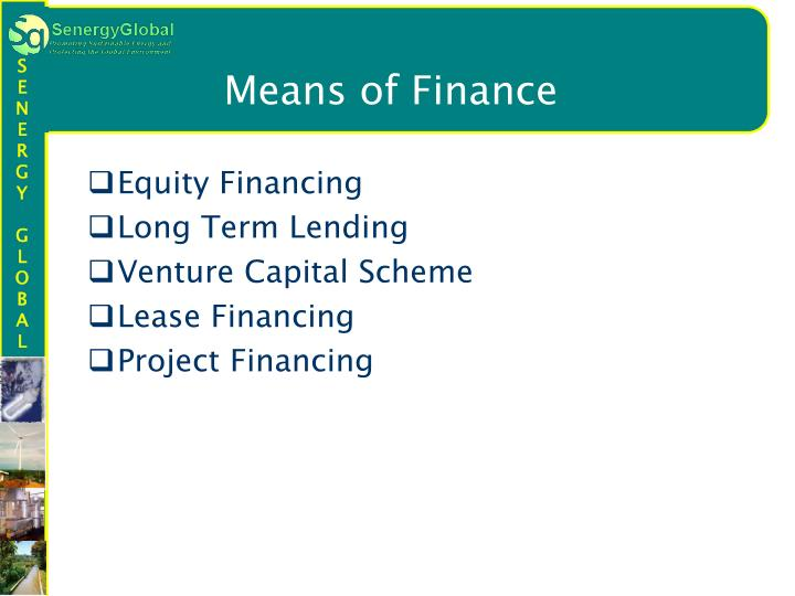 Means of Finance