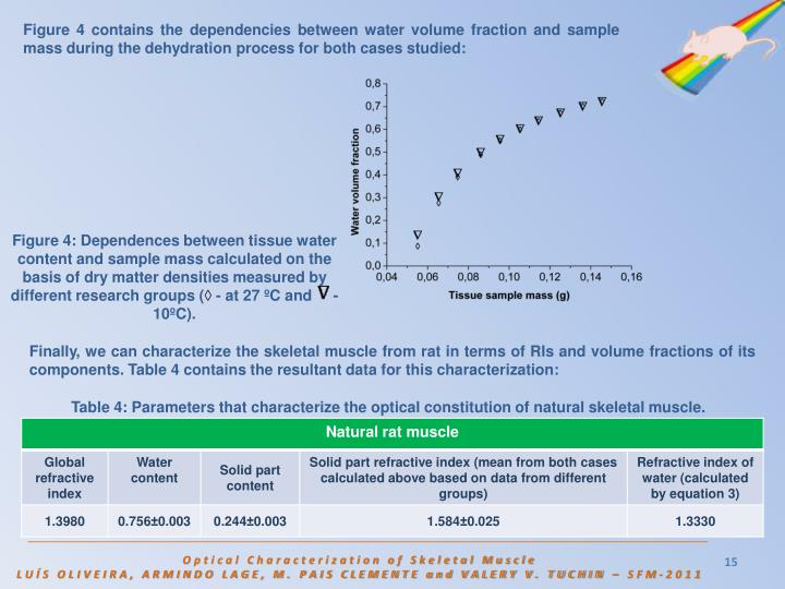 Figure 4 contains the dependencies between water volume fraction and sample mass during the dehydration process for both cases studied: