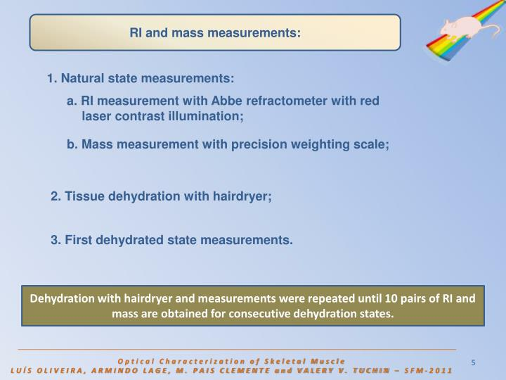 RI and mass measurements: