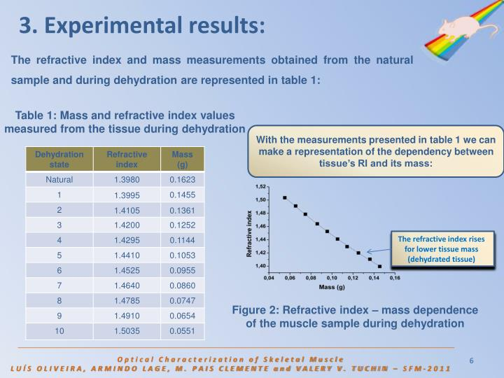 3. Experimental results: