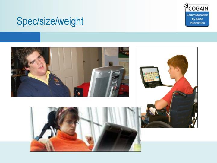 Spec/size/weight