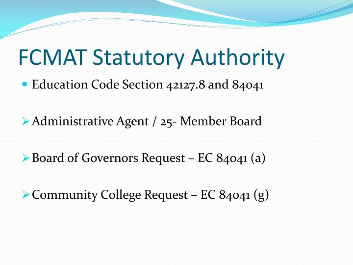 FCMAT Statutory Authority