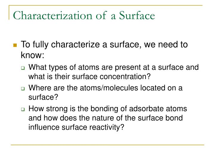 Characterization of a surface