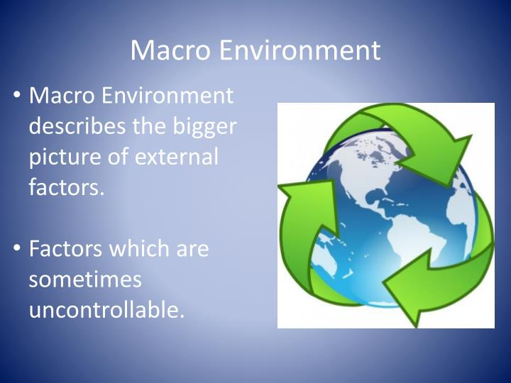 Macro Environment describes the bigger picture of external factors.