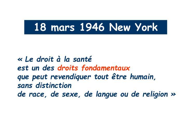 18 mars 1946 New York