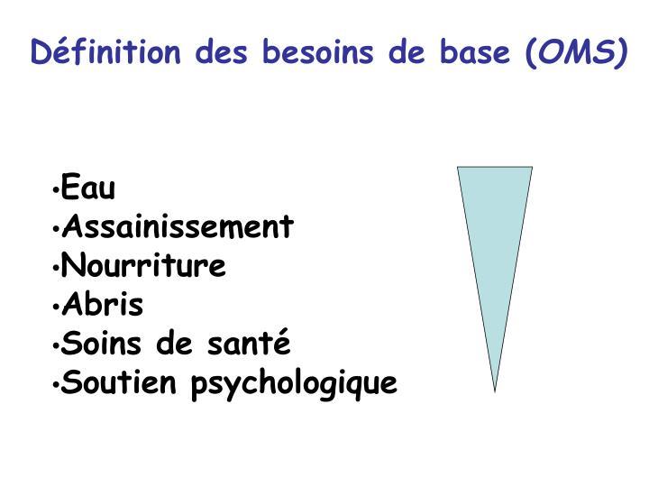 Définition des besoins de base (