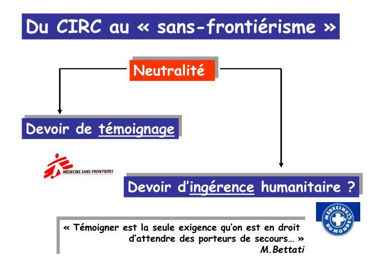 Du CIRC au «sans-frontiérisme»