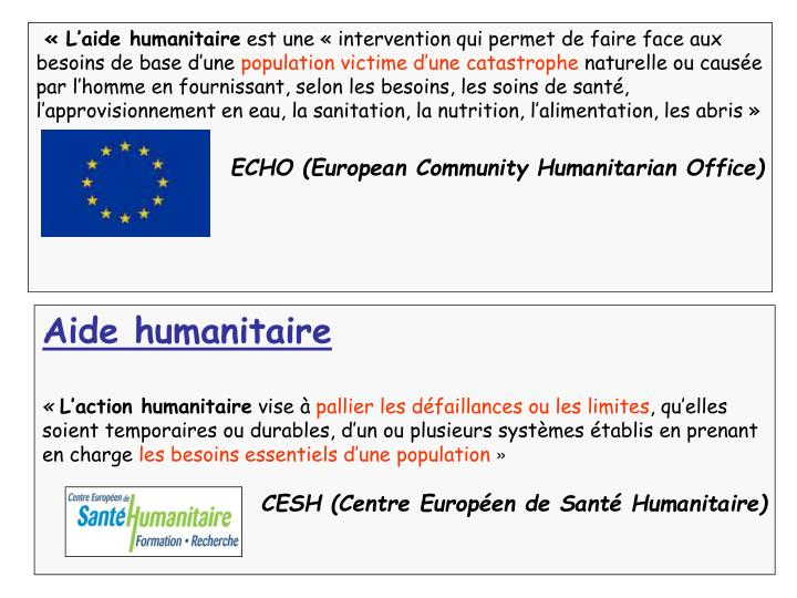 «L'aide humanitaire