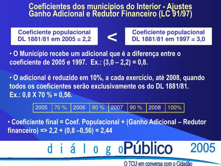 Coeficiente populacional DL 1881/81 em 2005 = 2,2