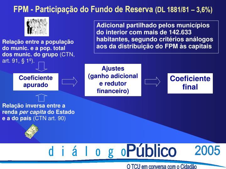 Adicional partilhado pelos municípios do interior com mais de 142.633 habitantes, segundo critérios análogos aos da distribuição do FPM às capitais