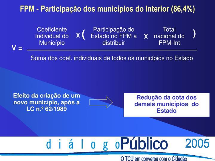 Redução da cota dos demais municípios  do Estado