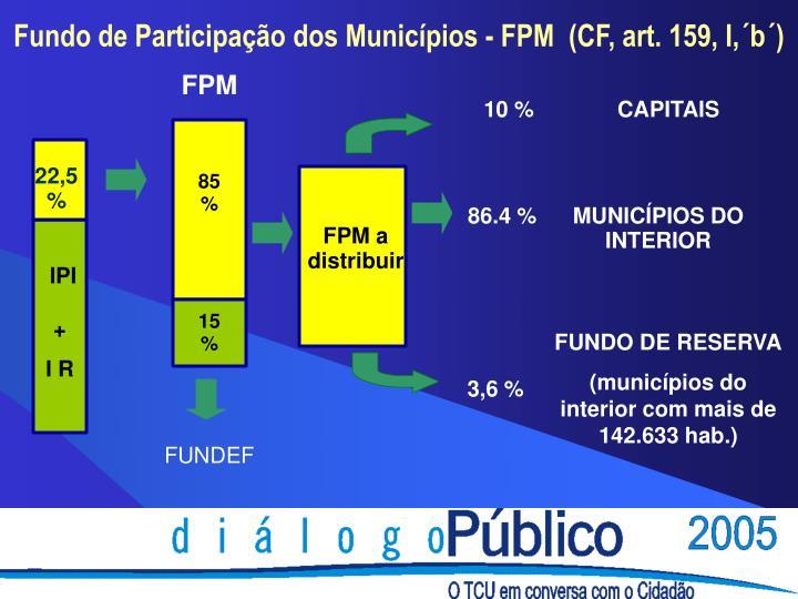 Fundo de Participação dos Municípios - FPM  (CF, art. 159, I,´b´)