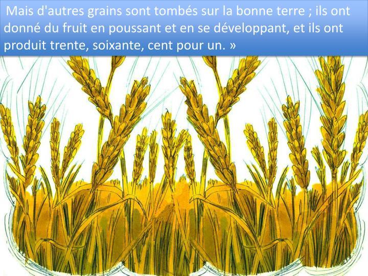 Mais d'autres grains sont tombs sur la bonne terre ; ils ont donn du fruit en poussant et en se dveloppant, et ils ont produit trente, soixante, cent pour un.