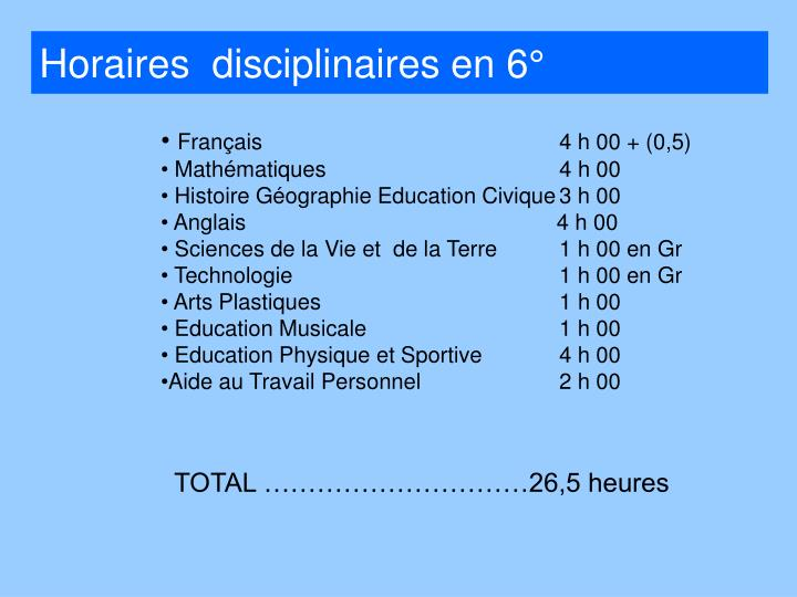 Horaires  disciplinaires en 6°
