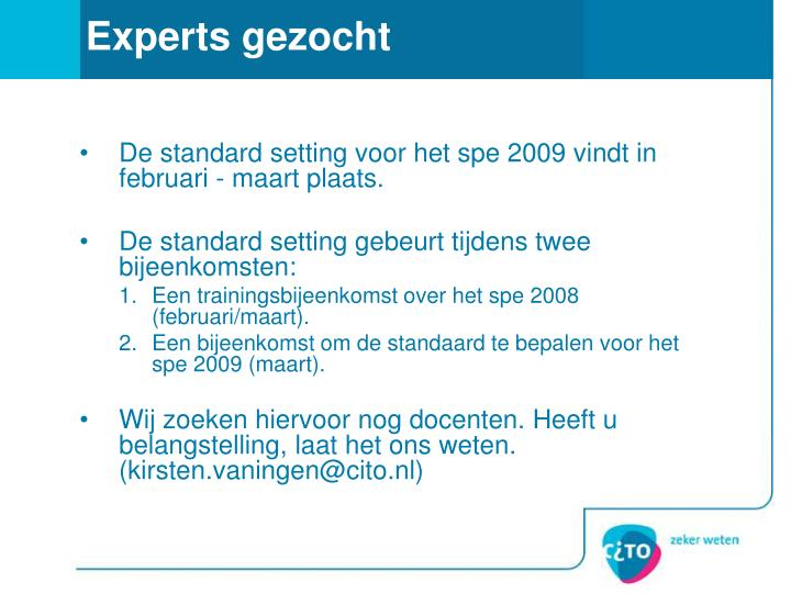 Experts gezocht