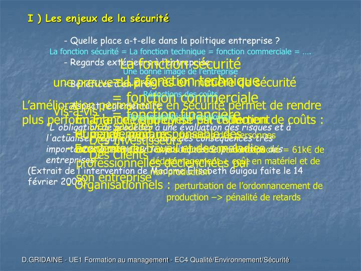 I ) Les enjeux de la sécurité