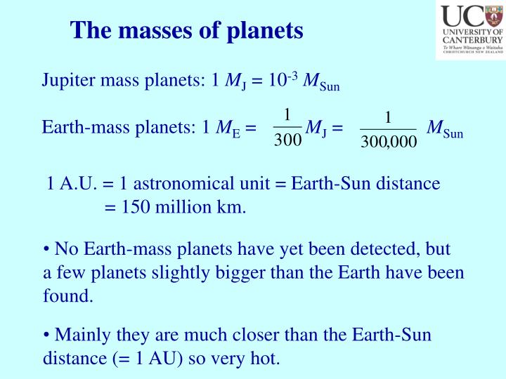 The masses of planets
