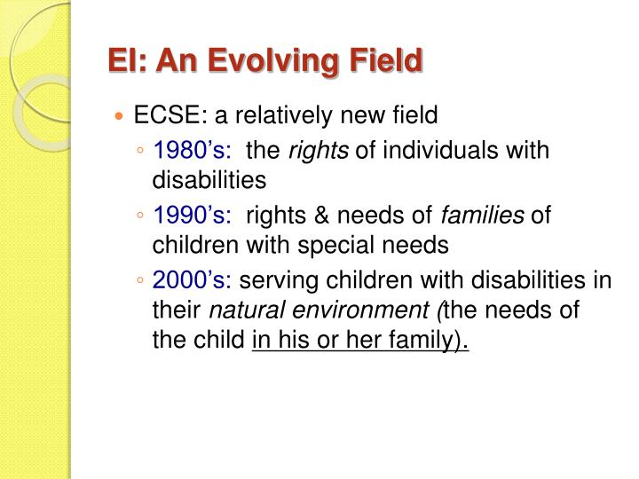EI: An Evolving Field