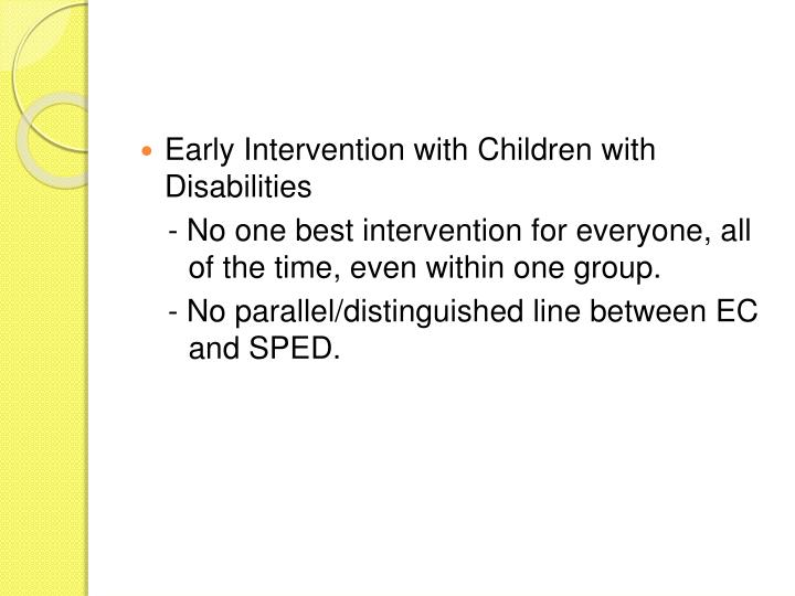 Early Intervention with Children with Disabilities