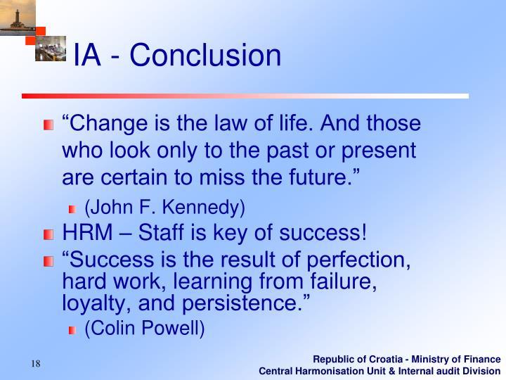 IA - Conclusion