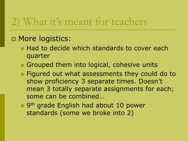 2) What it's meant for teachers