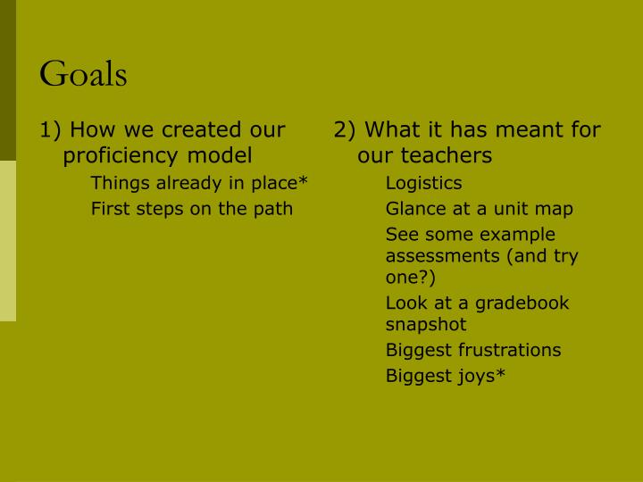 1) How we created our proficiency model