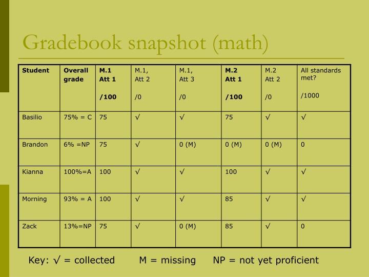 Gradebook snapshot (math)
