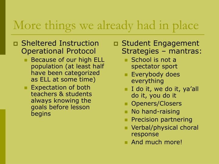 Sheltered Instruction Operational Protocol