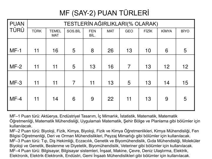 MF (SAY-2) PUAN TÜRLERİ