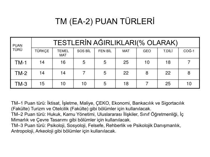 TM (EA-2) PUAN TÜRLERİ