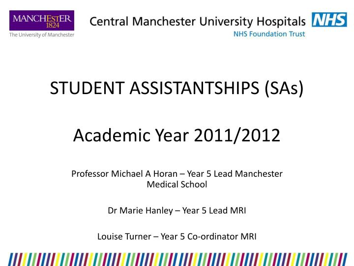 Student assistantships sas academic year 2011 2012