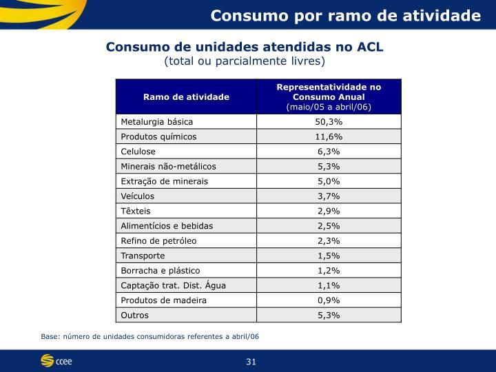 Consumo por ramo de atividade