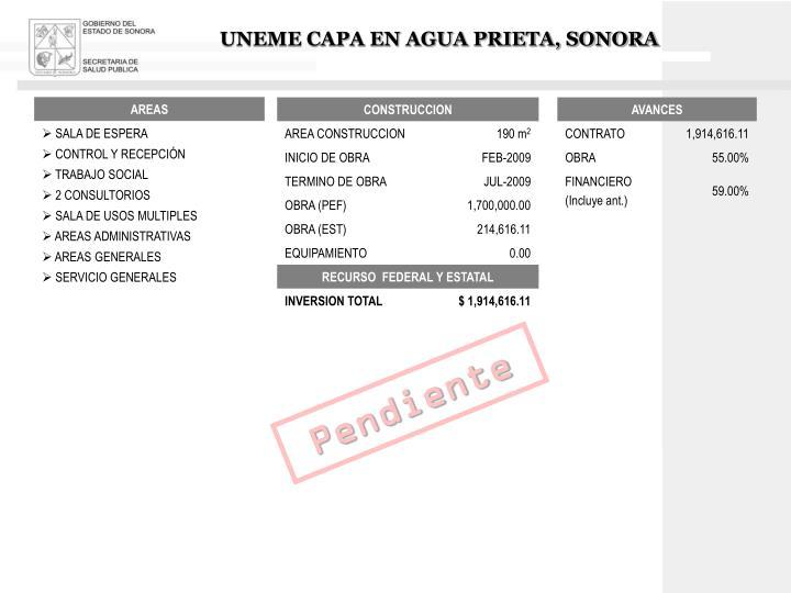UNEME CAPA EN AGUA PRIETA, SONORA