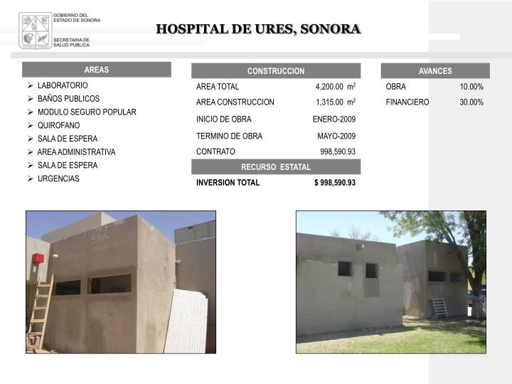 HOSPITAL DE URES, SONORA