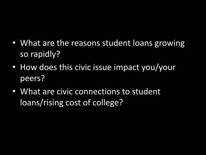 What are the reasons student loans growing so rapidly?