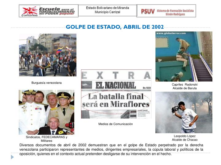 GOLPE DE ESTADO,  ABRIL DE 2002
