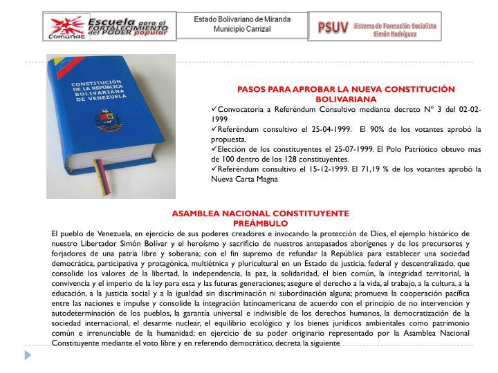 PASOS PARA APROBAR LA NUEVA CONSTITUCIÒN BOLIVARIANA