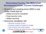 eliminating poverty the millennium development goals current challenges