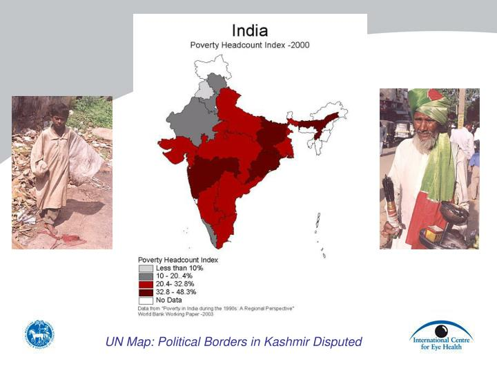 UN Map: Political Borders in Kashmir Disputed