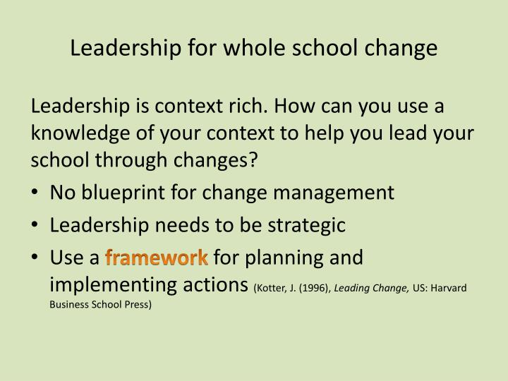 Leadership for whole school change