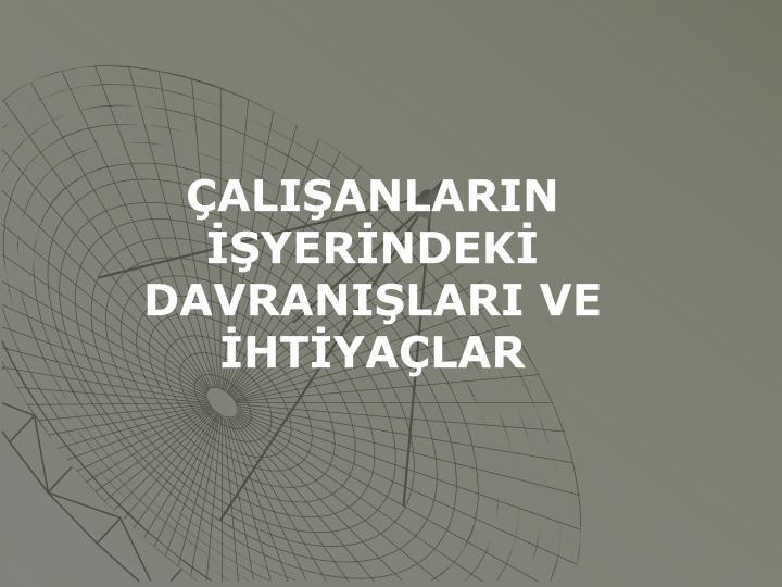 ALIANLARIN YERNDEK DAVRANILARI VE HTYALAR