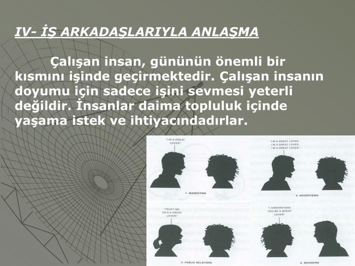IV-  ARKADALARIYLA ANLAMA