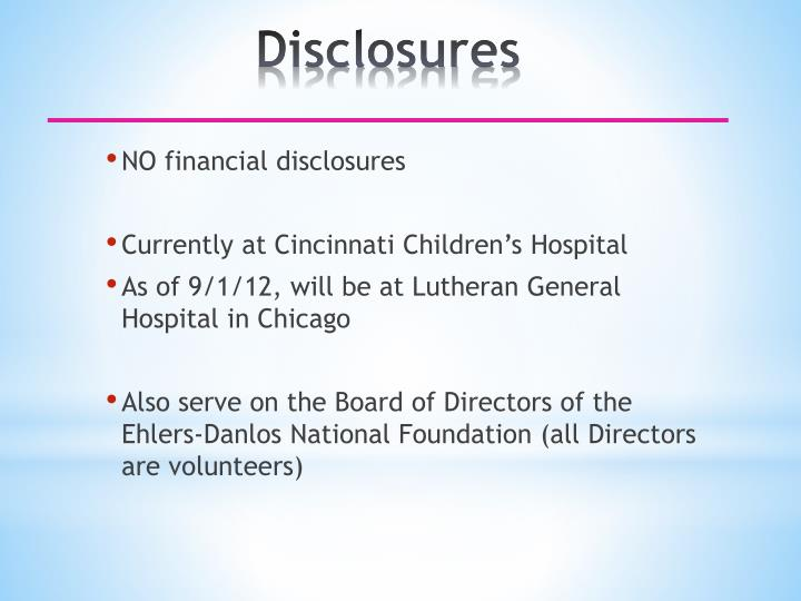 NO financial disclosures