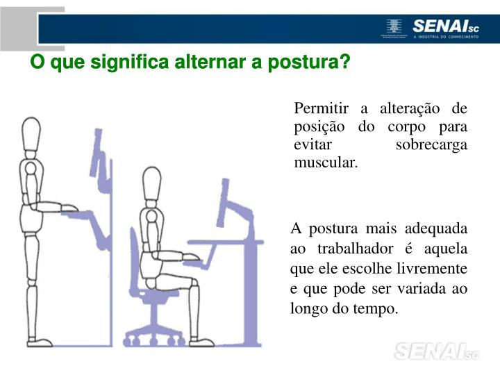 O que significa alternar a postura?