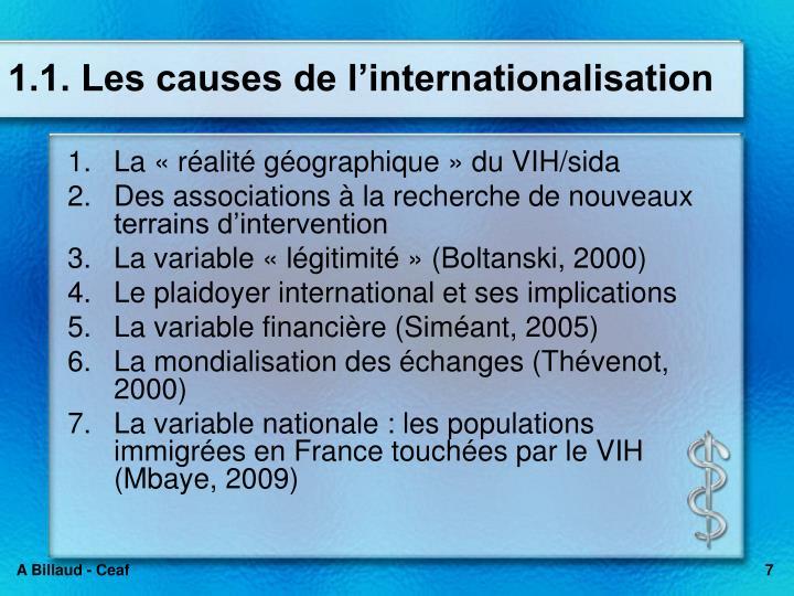 1.1. Les causes de l'internationalisation