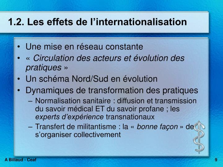 1.2. Les effets de l'internationalisation