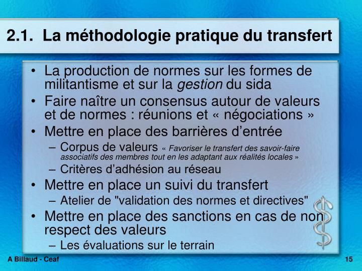 2.1.  La méthodologie pratique du transfert